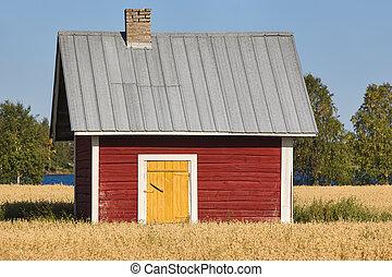 tradicional, finlandês, vermelho, madeira, fazenda, campo
