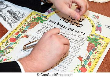 tradicional, firma, judío, acuerdo prenuptial, ketubah.,...