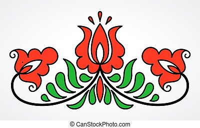 tradicional, floral, motivo, húngaro