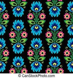 tradicional, floral, seamless, polaco