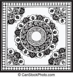 tradicional, floral, vetorial, desenho