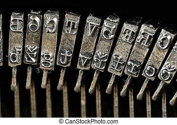 tradicional, fondo., arms., texto impreso, máquina de escribir