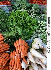 tradicional, fresco, fruta, mercado