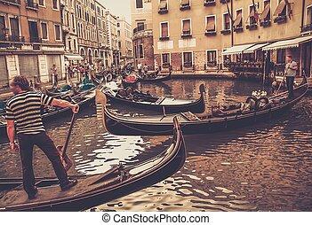 tradicional, gôndola, veneza, passeio