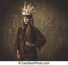 tradicional, garment, mulher, indianas, headdress
