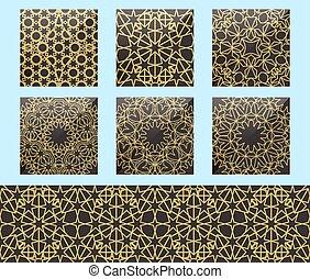 tradicional, geométrico, decoration., seamless, ramadan, dorado, árabe, fondo., islámico, repetición, elementos, decoración, ornamental, persa, circular, ornamento, patrón, motiff., conjunto