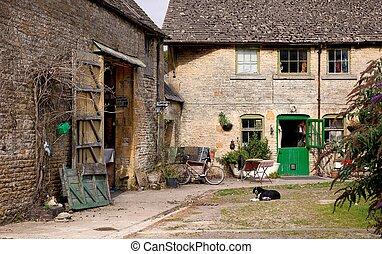 tradicional, granja, inglaterra, edificios