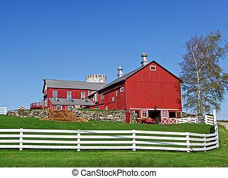 tradicional, granja, norteamericano