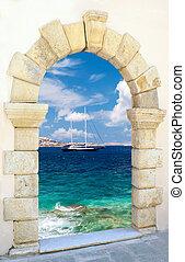 tradicional, grecia, arquitectura, isla, mykonos