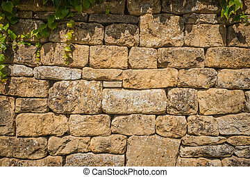 tradicional, hecho, inglés, piedra, cotswold, pared