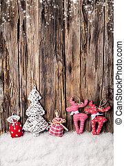 tradicional, hecho, mano, decoración, madera, navidad