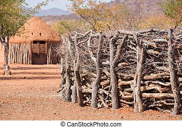 tradicional, himba, cabanas, pessoas