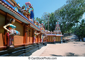 tradicional, hindú, kerala, india, templo, sur