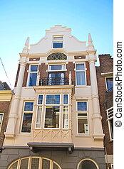 tradicional, holandés, casa de la ciudad, el, netherlands.