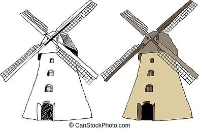 tradicional, holandés, molino de viento