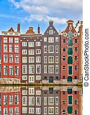 tradicional, holandês, edifícios, amsterdão