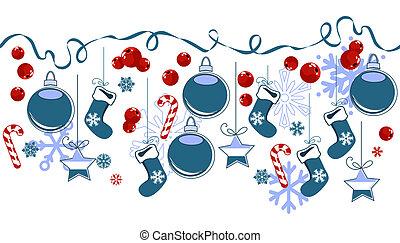 tradicional, horizontais, symbols., borda, natal