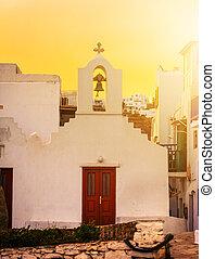 tradicional, iglesia griega, en, ocaso