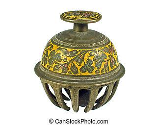 tradicional, india, aislado, campana