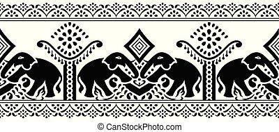 tradicional, indianas, borda, seamless, elefante