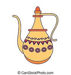tradicional, indianas, caricatura, ícone, bule