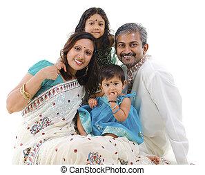tradicional, indianas, família, feliz