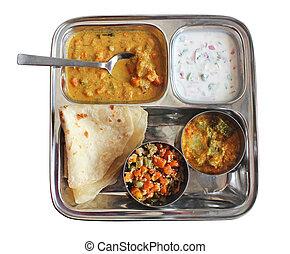 tradicional, indio, bread, chapati, con, currys, raitha