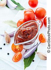 tradicional, ingredientes, salsa de tomate, casero