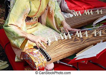 tradicional, instrumento, japoneses