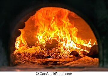 tradicional, italiano, pizza, madera, horno, fuego, detalle