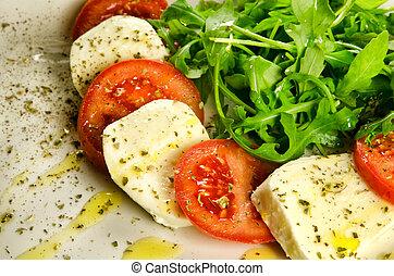 tradicional, italiano, salada, caprese, aperitivo