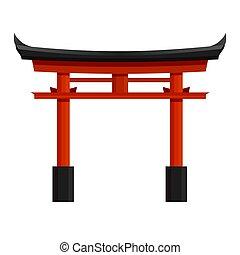 tradicional, japonés, arco, vector, columna, illustration., ...