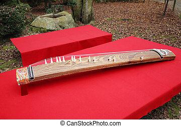 tradicional, japonés, instrumento