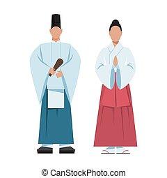 tradicional, japonés, religion., priest., hembra, religioso...