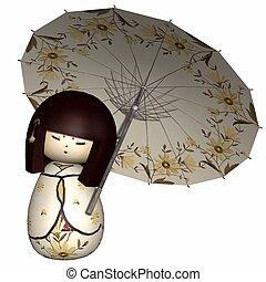 tradicional, japoneses, boneca