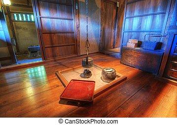 tradicional, japoneses, sala de estar