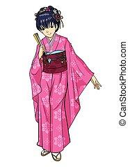 tradicional, japoneses, traje