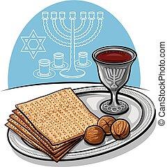 tradicional, judeu, matzoh, passover