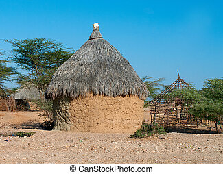 tradicional, kenia, chozas, africano