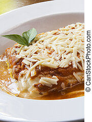 tradicional, lasanha, feito, com, carne picada, bolonhês