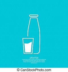 tradicional, leche vidrio, botella, taza