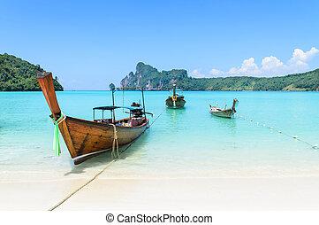 tradicional, longtail, tailandés, barco