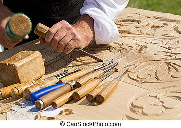 tradicional, madeira, artesão, esculpindo