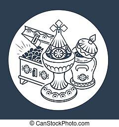tradicional, magi, ofrendas, icono