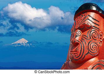 tradicional, maorí, escultura, zealand, nuevo
