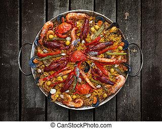 tradicional, mariscos paella, español