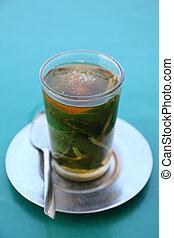 tradicional, marroquino, chá mint, como, servido, em, um, café, em, rabat, marrocos