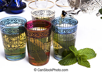 tradicional, marroquino, chá mint