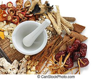 tradicional, medicina herbácea, chinês