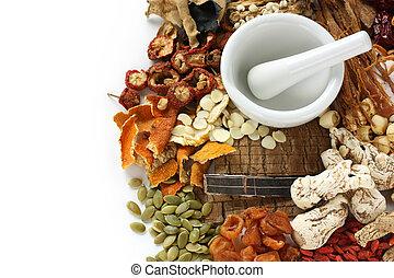 tradicional, medicina herbaria, chino